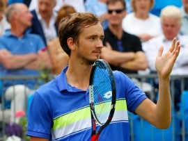 June 22nd 2017, Queens Club, West Kensington, London; Aegon Tennis Championships, Day 4; Daniil Medvedev (RUS) versus Thanasi Kokkinakis (AUS); Daniil Medvedev celebrates after he wins the match 6-2 6-2  (Photo by Alan Martin/Action Plus via Getty Images)