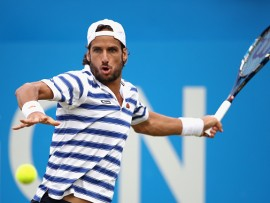 LONDON, ENGLAND - JUNE 23:  Feliciano Lopez of Spain plays a forehand during the mens singles quarter final match against Thomas Berdych of The Czech Republic on day five of the 2017 Aegon Championships at Queens Club on June 23, 2017 in London, England.  (Photo by Julian Finney/Getty Images)