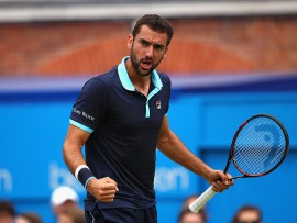 LONDON, ENGLAND - JUNE 24:  Marin Cilic of Croatia celebrates during the mens singles semi-final match against Gilles Muller of Luxembourg on day six of the 2017 Aegon Championships at Queens Club on June 24, 2017 in London, England.  (Photo by Clive Brunskill/Getty Images)