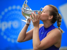 Czech Republic's Petra Kvitova celebrates winning the 2017 AEGON Classic at Edgbaston Priory, Birmingham. (Photo by Mike Egerton/PA Images via Getty Images)