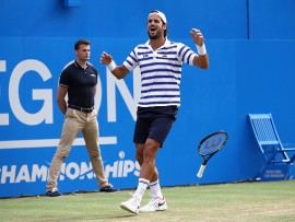 LONDON, ENGLAND - JUNE 25:  Feliciano Lopez of Spain celebrates victory in the mens singles final against  Marin Cilic of Croatia during day seven of the 2017 Aegon Championships at Queens Club on June 25, 2017 in London, England.  (Photo by Julian Finney/Getty Images)