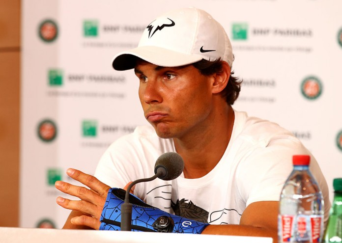 PARIS, FRANCE - MAY 27: Rafael Nadal of Spain announces during a press conference that he is withdrawing from the tournament due to a wrist injury on day six of the 2016 French Open at Roland Garros on May 27, 2016 in Paris, France. (Photo by Clive Brunskill/Getty Images)