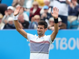 Serbia's Novak Djokovic celebrates victory against USA's Donald Young (not pictured) during day seven of the AEGON International at Devonshire Park, Eastbourne. (Photo by Gareth Fuller/PA Images via Getty Images)