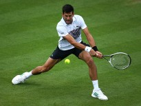 EASTBOURNE, ENGLAND - JUNE 28: Novak Djokovic of Serbia in action during his men's singles match against Vasek Pospisil of Canada during day four of the Aegon International Eastbourne on June 28, 2017 in Eastbourne, England. (Photo by Charlie Crowhurst/Getty Images for LTA)