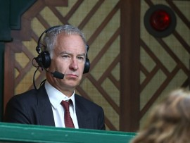 LONDON, ENGLAND - JUNE 29:  Commentator John McEnroe looks on during the Men's Singles second round match between Novak Djokovic of Serbia and Adrian Mannarino of France on day three of the Wimbledon Lawn Tennis Championships at the All England Lawn Tennis and Croquet Club on June 29, 2016 in London, England.  (Photo by Julian Finney/Getty Images)