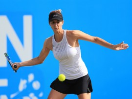 Bulgaria's Tsvetana Pironkova in action against Czech Republic's Lucie Safarova during day five of the AEGON Open Nottingham at Nottingham Tennis Centre. (Photo by Tim Goode/PA Images via Getty Images)