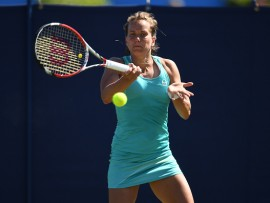 EASTBOURNE, ENGLAND - JUNE 26:  Barbora Strycova of Czech Republic in action against Eugenie Bouchard of Canada on Day 2 of the Aegon International Eastbourne at Devonshire Park on June 26, 2017 in Eastbourne, England.  (Photo by Mike Hewitt/Getty Images)
