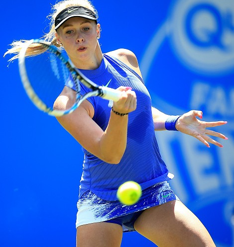 BIRMINGHAM, ENGLAND - JUNE 18: Fanny Stollar of Hungary hits a forehand during the qualifying match against Jana Fett of Croatia on day two of qualifying for the Aegon Classic at Edgbaston Priory Club on June 18, 2017 in Birmingham, England. (Photo by Ben Hoskins/Getty Images for LTA)