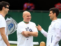 Novak Djokovic with coaches Andre Agassi and Mario Ancic (left) on day two of the Wimbledon Championships at The All England Lawn Tennis and Croquet Club, Wimbledon. (Photo by Adam Davy/PA Images via Getty Images)
