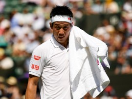 LONDON, ENGLAND - JULY 05:  Kei Nishikori of Japan looks on during the Gentlemen's Singles second round match against Sergiy Stakhovsky of Ukraine on day three of the Wimbledon Lawn Tennis Championships at the All England Lawn Tennis and Croquet Club on July 5, 2017 in London, England.  (Photo by Shaun Botterill/Getty Images)