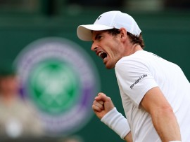 Andy Murray reacts during his match against Fabio Fognini on day five of the Wimbledon Championships at The All England Lawn Tennis and Croquet Club, Wimbledon. (Photo by Gareth Fuller/PA Images via Getty Images)