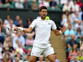Novak Djokovic in action against Adrian Mannarino on day eight of the Wimbledon Championships at The All England Lawn Tennis and Croquet Club, Wimbledon. (Photo by Gareth Fuller/PA Images via Getty Images)