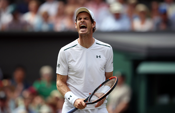 Andy Murray reacts during the third set on day Nine of the Wimbledon Championships at The All England Lawn Tennis and Croquet Club, Wimbledon. (Photo by John Walton/PA Images via Getty Images)