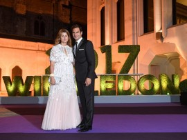 LONDON, ENGLAND - JULY 16:  Roger Federer and wife Mirka attend the Wimbledon Winners Dinner at The Guildhall on July 16, 2017 in London, England.  (Photo by Karwai Tang/WireImage)