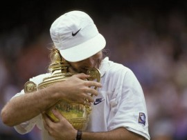 UNITED KINGDOM - JULY 05:  Tennis: Wimbledon, Closeup of USA Andre Agassi victorious with trophy after winning Finals vs Croatia Goran Ivanisevic at All England Club, London, England 7/5/1992  (Photo by Caryn Levy/Sports Illustrated/Getty Images)  (SetNumber: X43116)