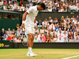LONDON, ENGLAND - JULY 11:  Novak Djokovic of Serbia inspects the court during the Gentlemen's Singles fourth round match against Adrian Mannarino of France on day eight of the Wimbledon Lawn Tennis Championships at the All England Lawn Tennis and Croquet Club on July 11, 2017 in London, England.  (Photo by Shaun Botterill/Getty Images)