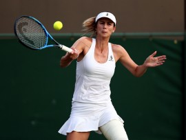 Tsvetana Pironkova in action against Caroline Wozniacki on day four of the Wimbledon Championships at The All England Lawn Tennis and Croquet Club, Wimbledon. (Photo by Gareth Fuller/PA Images via Getty Images)
