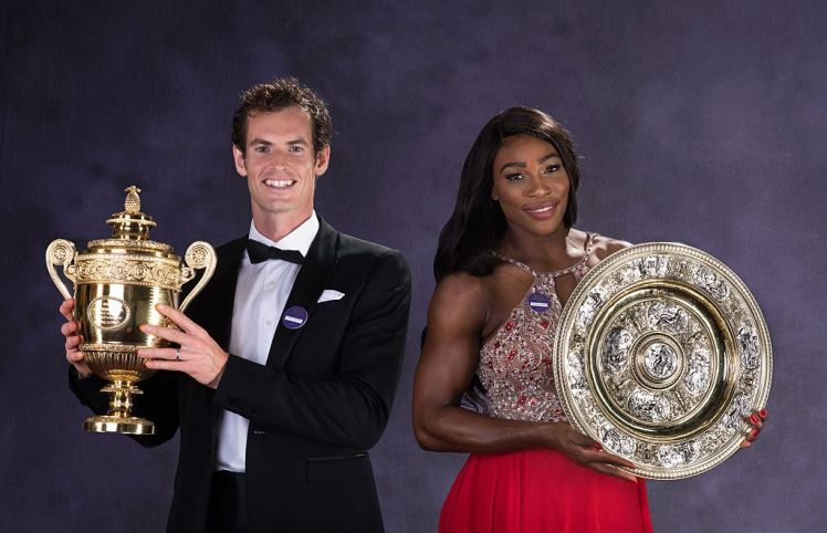 LONDON, ENGLAND - JULY 10:  (EDITORS NOTE: This is a composite images and has been retouched) (EDITORIAL USE ONLY - NO COMMERCIAL USAGE) Wimbledon men's singles Tennis Champion Andy Murray of Great Britain and the ladies singles Tennis Champion Serena Williams of the United States pose with the trophies at the Wimbledon Champions Dinner 2016 at the Guild Hall on July 10, 2016 in London, England.  (Photo by Bob Martin/AELTC/Pool/Getty Images)