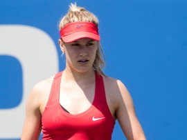 WASHINGTON, DC - AUGUST 02: Genie Bouchard (CAN) prepares to serve during her WTA singles round of 32 match at the Citi Open on August 2, 2017 at Rock Creek Tennis Center in Washington DC. (Photo by Tony Quinn/Icon Sportswire via Getty Images)