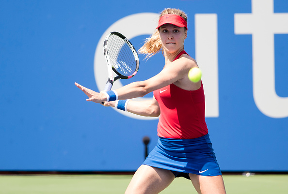 WASHINGTON, DC - AUGUST 02: Genie Bouchard (CAN) hits a forehand shot during her WTA singles round of 32 match at the Citi Open on August 2, 2017 at Rock Creek Tennis Center in Washington DC. (Photo by Tony Quinn/Icon Sportswire via Getty Images)