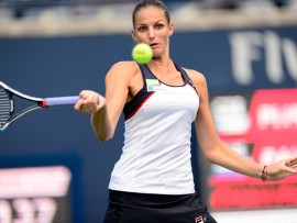 TORONTO, ON - AUGUST 09: Karolina Pliskova of Czech Republic (CZE) returns the ball during her second round match of the 2017 Rogers Cup tennis tournament on August 9, 2017, at Aviva Centre in Toronto, ON, Canada. (Photograph by Julian Avram/Icon Sportswire via Getty Images)