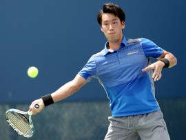 MASON, OH - AUGUST 16:  Yuichi Sugita of Japan plays Joao Sousa of Portugal during day 5 of the Western & Southern Open at the Lindner Family Tennis Center on August 16, 2017 in Mason, Ohio.  (Photo by Matthew Stockman/Getty Images)