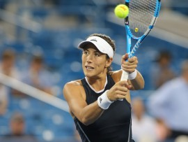 CINCINNATI, OH - AUGUST 15: Garbine Muguruza (ESP) hits a backhand during the Western & Southern Open at the Lindner Family Tennis Center in Mason, Ohio on August 15, 2017. (Photo by George Walker/Icon Sportswire via Getty Images)