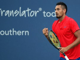 MASON, OH - AUGUST 16:  Nick Kyrgios of Australia celebrates after winning a point against Alexandr Dolgopolov of Ukraine during Day 5 of the Western & Southern Open at the Linder Family Tennis Center on August 16, 2017 in Mason, Ohio.  (Photo by Rob Carr/Getty Images)