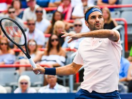 MONTREAL, QC - AUGUST 12: Roger Federer (SUI) returns the ball during his semifinal match at ATP Coupe Rogers on August 12, 2017, at Uniprix Stadium in Montreal, QC (Photo by David Kirouac/Icon Sportswire)