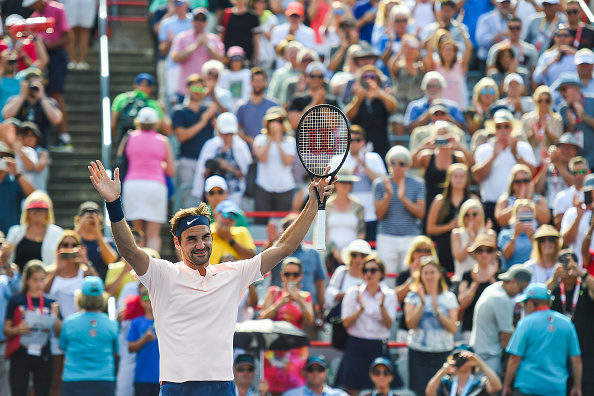MONTREAL, QC - AUGUST 11: Roger Federer (SUI) celebrating his win after his quarterfinal match at ATP Coupe Rogers on August 11, 2017, at Uniprix Stadium in Montreal, QC (Photo by David Kirouac/Icon Sportswire)