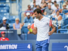 CINCINNATI, OH - AUGUST 16: Grigor Dimitrov (BUL) reacts to a point during the Western & Southern Open at the Lindner Family Tennis Center in Mason, Ohio on August 16, 2017.(Photo by George Walker/Icon Sportswire via Getty Images)