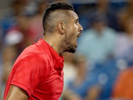 MASON, OH - AUGUST 18:  Nick Kyrgios of Australia celebrates match point against Rafael Nadal of Spain during day 7 of the Western & Southern Open at the Lindner Family Tennis Center on August 18, 2017 in Mason, Ohio.  (Photo by Matthew Stockman/Getty Images)