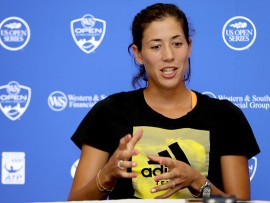 MASON, OH - AUGUST 14:  Garbine Muguruza of Spain fields questions from the media during day 3 of the Western & Southern Open at the Lindner Family Tennis Center on August 14, 2017 in Mason, Ohio.  (Photo by Matthew Stockman/Getty Images)