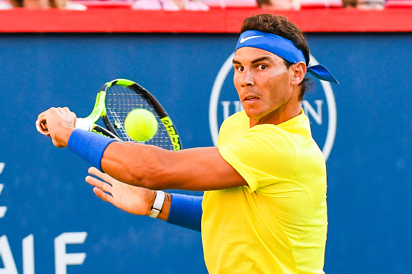 MONTREAL, QC - AUGUST 09: Rafael Nadal (ESP) returns the ball during his second round match at ATP Coupe Rogers on August 9, 2017, at Uniprix Stadium in Montreal, QC (Photo by David Kirouac/Icon Sportswire)