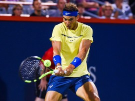 MONTREAL, QC - AUGUST 10: Rafael Nadal (ESP) returns the ball during his third round match at ATP Coupe Rogers on August 10, 2017, at Uniprix Stadium in Montreal, QC (Photo by David Kirouac/Icon Sportswire via Getty Images)