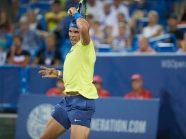 CINCINNATI, OH - AUGUST 16: Rafael Nadal of Spain hits a forehand during a match in the Western & Southern Open on August 16, 2017 at the Lindner Family Tennis Center in Cincinnati, OH. (Photo by Shelley Lipton/Icon Sportswire via Getty Images)