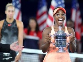 2017 U.S. Open Tennis Tournament - DAY THIRTEEN. Sloane Stephens of the United States celebrates with the trophy after her victory against Madison Keys of the United States during the Women's Singles Final at the US Open Tennis Tournament at the USTA Billie Jean King National Tennis Center on September 09, 2017 in Flushing, Queens, New York City.  (Photo by Tim Clayton/Corbis via Getty Images)