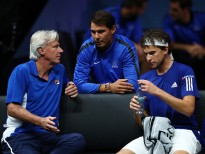 PRAGUE, CZECH REPUBLIC - SEPTEMBER 22:  Dominic Thiem of Team Europe talks with Rafael Nadal and Bjorn Borg, Captain of Team Europe during his singles match against John Isner of Team World on the first day of the Laver Cup on September 22, 2017 in Prague, Czech Republic.  The Laver Cup consists of six European players competing against their counterparts from the rest of the World. Europe will be captained by Bjorn Borg and John McEnroe will captain the Rest of the World team. The event runs from 22-24 September.  (Photo by Clive Brunskill/Getty Images for Laver Cup)