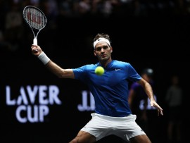 PRAGUE, CZECH REPUBLIC - SEPTEMBER 23:  Roger Federer of Team Europe plays a forehand during his singles match against Sam Querrey of Team World on Day 2 of the Laver Cup on September 23, 2017 in Prague, Czech Republic. The Laver Cup consists of six European players competing against their counterparts from the rest of the World. Europe will be captained by Bjorn Borg and John McEnroe will captain the Rest of the World team. The event runs from 22-24 September.  (Photo by Julian Finney/Getty Images for Laver Cup)