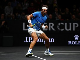 PRAGUE, CZECH REPUBLIC - SEPTEMBER 23:  Rafael Nadal of Team Europe  celebrates winning a point  during his singles match against Jack Sock of Team World  on Day 2 of the Laver Cup on September 23, 2017 in Prague, Czech Republic. The Laver Cup consists of six European players competing against their counterparts from the rest of the World. Europe will be captained by Bjorn Borg and John McEnroe will captain the Rest of the World team. The event runs from 22-24 September.  (Photo by Clive Brunskill/Getty Images for Laver Cup)