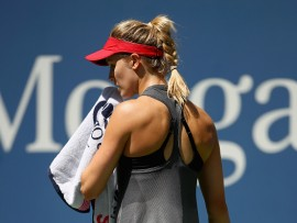 NEW YORK, NY - AUGUST 30:  Eugenie Bouchard of Canada reacts against Evgeniya Rodina of Russia during their first round Women's Singles match on Day Three of the 2017 US Open at the USTA Billie Jean King National Tennis Center on August 30, 2017 in the Flushing neighborhood of the Queens borough of New York City.  (Photo by Clive Brunskill/Getty Images)