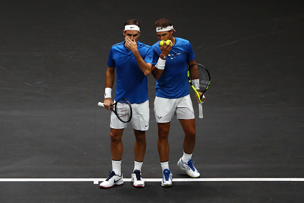 PRAGUE, CZECH REPUBLIC - SEPTEMBER 23: Roger Federer and Rafael Nadal of Team Europe react during there doubles match against Jack Sock and Sam Querrey of Team World on Day 2 of the Laver Cup on September 23, 2017 in Prague, Czech Republic. The Laver Cup consists of six European players competing against their counterparts from the rest of the World. Europe will be captained by Bjorn Borg and John McEnroe will captain the Rest of the World team. The event runs from 22-24 September. (Photo by Clive Brunskill/Getty Images for Laver Cup)