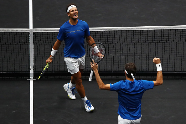 PRAGUE, CZECH REPUBLIC - SEPTEMBER 23: Roger Federer and Rafael Nadal of Team Europe celebrate winning match point during there doubles match against Jack Sock and Sam Querrey of Team World on Day 2 of the Laver Cup on September 23, 2017 in Prague, Czech Republic. The Laver Cup consists of six European players competing against their counterparts from the rest of the World. Europe will be captained by Bjorn Borg and John McEnroe will captain the Rest of the World team. The event runs from 22-24 September. (Photo by Clive Brunskill/Getty Images for Laver Cup)