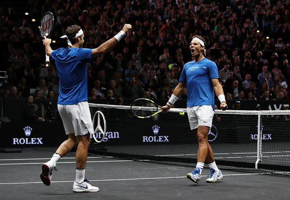 PRAGUE, CZECH REPUBLIC - SEPTEMBER 23: Roger Federer and Rafael Nadal of Team Europe celebrate winning match point during there doubles match against Jack Sock and Sam Querrey of Team World on Day 2 of the Laver Cup on September 23, 2017 in Prague, Czech Republic. The Laver Cup consists of six European players competing against their counterparts from the rest of the World. Europe will be captained by Bjorn Borg and John McEnroe will captain the Rest of the World team. The event runs from 22-24 September. (Photo by Julian Finney/Getty Images for Laver Cup)