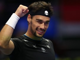Fabio Fognini of Italy celebrates his victory over Roberto Bautista of Spain in the St. Petersburg Open ATP tennis tournament semi-final match in St. Petersburg. (Photo by Igor Russak/NurPhoto via Getty Images)