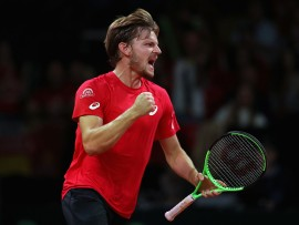 BRUSSELS, BELGIUM - SEPTEMBER 17:  David Goffin of Belgium celebrates breaking Nick Kyrgios of Australia in the fourth set during day three of the Davis Cup World Group semi final match between Belgium and Australia at Palais 12 on September 17, 2017 in Brussels, Belgium.  (Photo by Julian Finney/Getty Images)