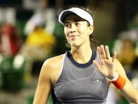 TOKYO, JAPAN - SEPTEMBER 20: Garbine Muguruza of Spain celebrates victory in her match against  Monica Puig of Puerto Rico during during day three of the Toray Pan Pacific Open Tennis At Ariake Coliseum on September 20, 2017 in Tokyo, Japan. (Photo by Koji Watanabe/Getty Images)