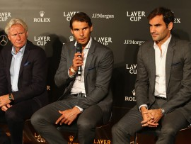 PRAGUE, CZECH REPUBLIC - SEPTEMBER 20: (L-R) Bjorn Borg of Sweden, Rafael Nadal of Spain and Roger Federer of Switzerland speak during a press conference ahead of the Laver Cup on September 20, 2017 in Prague, Czech Republic. The Laver Cup consists of six European players competing against their counterparts from the rest of the World. Europe will be captained by Bjorn Borg and John McEnroe will captain the Rest of the World team. The event runs from 22-24 September.  (Photo by Clive Brunskill/Getty Images for Laver Cup)
