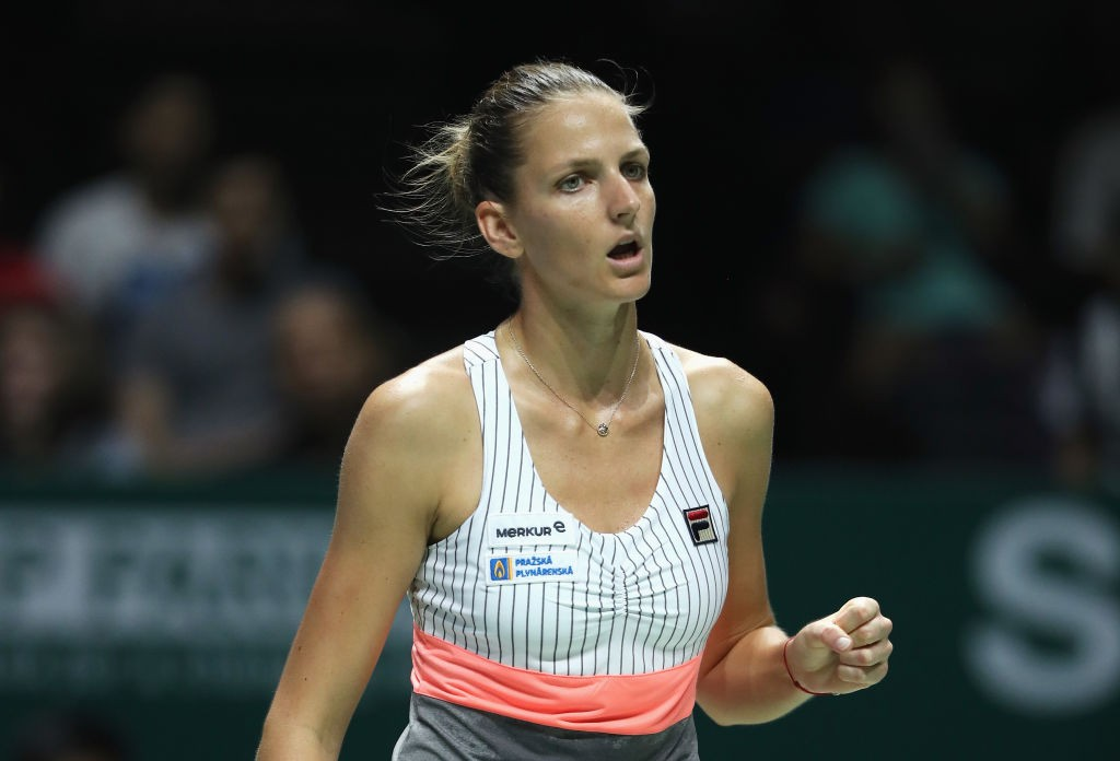 SINGAPORE - OCTOBER 22:  Karolina Pliskova of Czech Republic celebrates a point in her singles match against Venus Williams of the United States during day 1 of the BNP Paribas WTA Finals Singapore presented by SC Global at Singapore Sports Hub on October 22, 2017 in Singapore.  (Photo by Matthew Stockman/Getty Images)