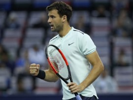 SHANGHAI, CHINA - OCTOBER 13:  Grigor Dimitrov of Bulgaria celebrates a point during Men's singles quarter final mach against Rafael Nadal of Spain on day six of 2017 ATP Shanghai Rolex Masters at Qizhong Stadium on October 13, 2017 in Shanghai, China.  (Photo by Lintao Zhang/Getty Images)